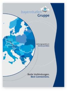 """Cover der Broschüre """"Beste Verbindungen. Best Connections. Leistungsspektrum. Service portfolio"""" der bayernhafen Gruppe."""