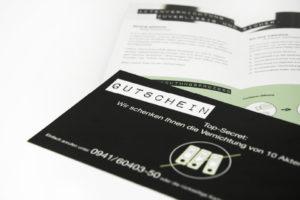 Flyer und Gutschein der Zellner Recycling Kampagne zum Geschäftsbereich Aktenvernichtung